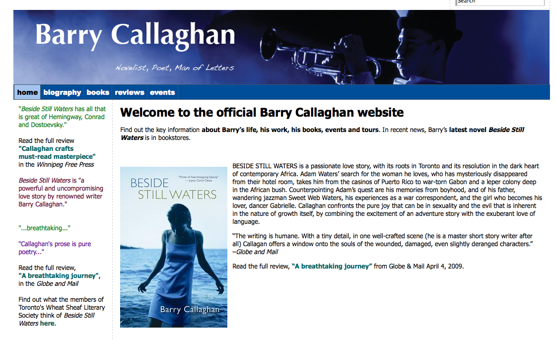 Barry Callaghan Author Website